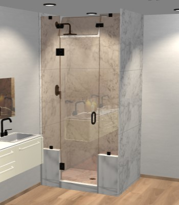 Right Open Door & Panel Shower Door with Two Knee Walls & Steam Shower Transom