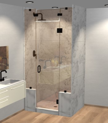 Left Open Door & Panel Shower Door with Two Knee Walls & Steam Shower Transom