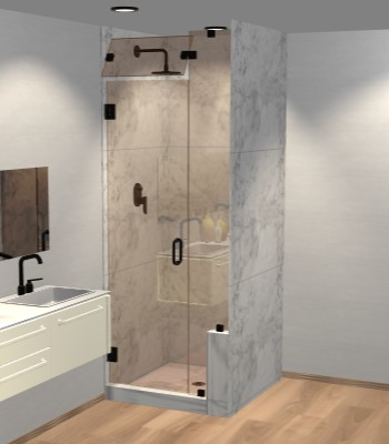 Right Open Door & Panel Shower Door with Right Knee Wall & Steam Shower Transom
