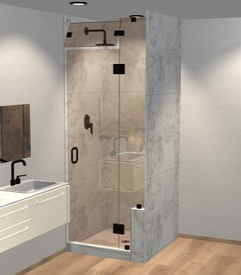 Left Open Door & Panel Shower Door with Right Knee Wall & Steam Shower Transom