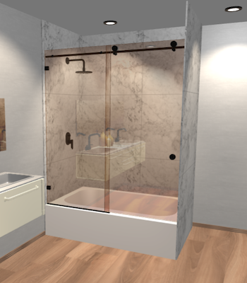 Left Open Quadro Sliding Bathtub Door