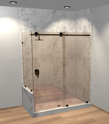 Right Open Quadro Sliding Corner Shower Door with Left Knee Wall