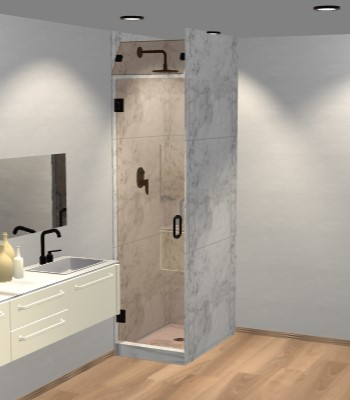 Right Open Single Shower Door with Steam Shower Transom