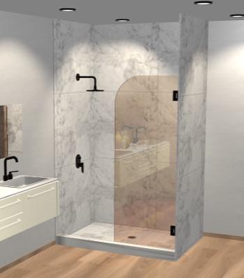 Left Open Single Swinging Round Shower Screen