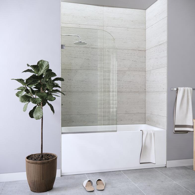 Fixed Left Side Rounded Single Bathtub Screen