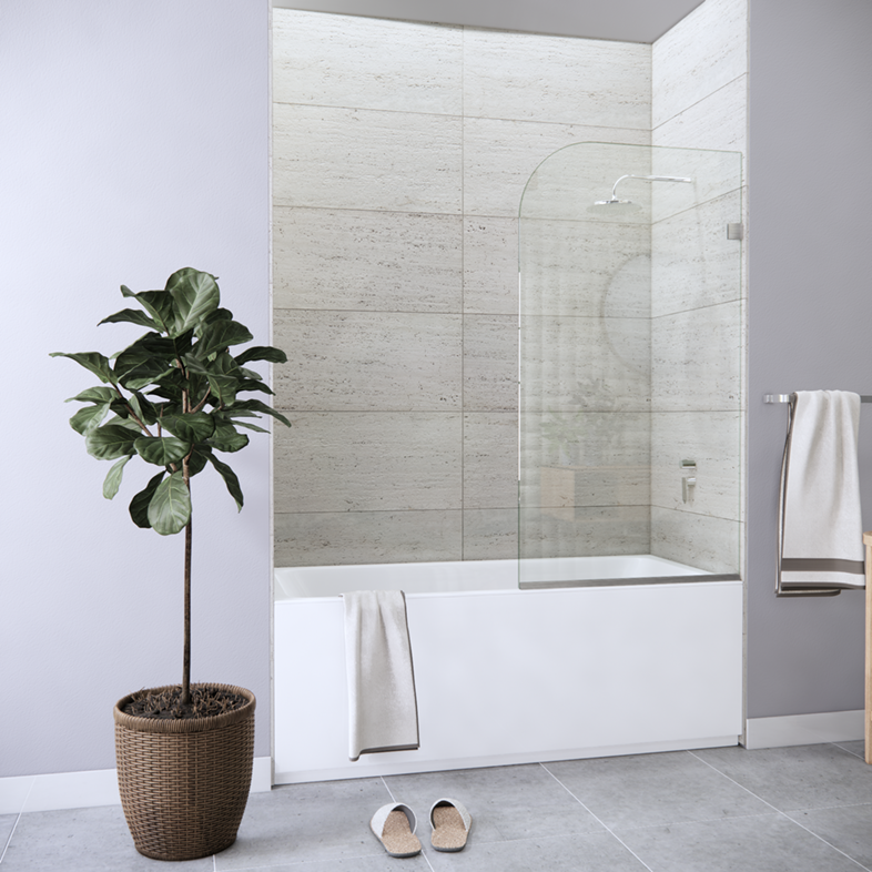 Fixed Right Side Rounded Single Bathtub Screen