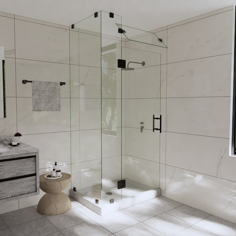 Right Open Corner Shower Door with Steam Shower Transom & Glass-to-Glass Hinge