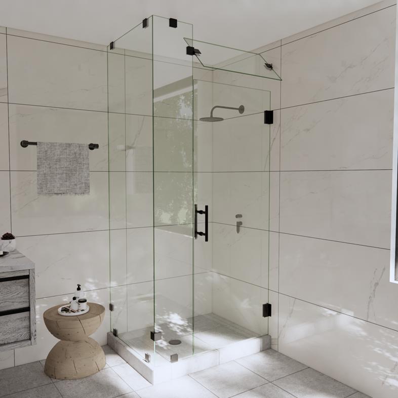 Left Open Corner Shower Door with Steam Shower Transom