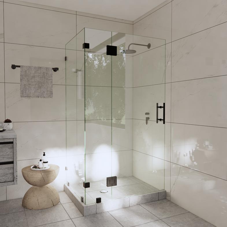 Right Open Corner Shower Door with Glass-to-Glass Hinge