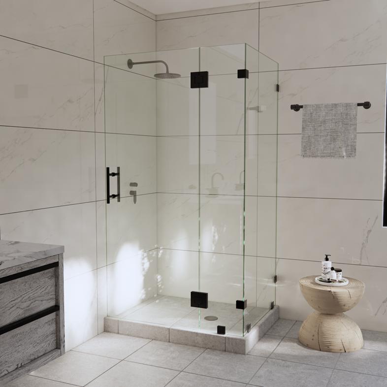 Left Open Corner Shower Door with Glass-to-Glass Hinge