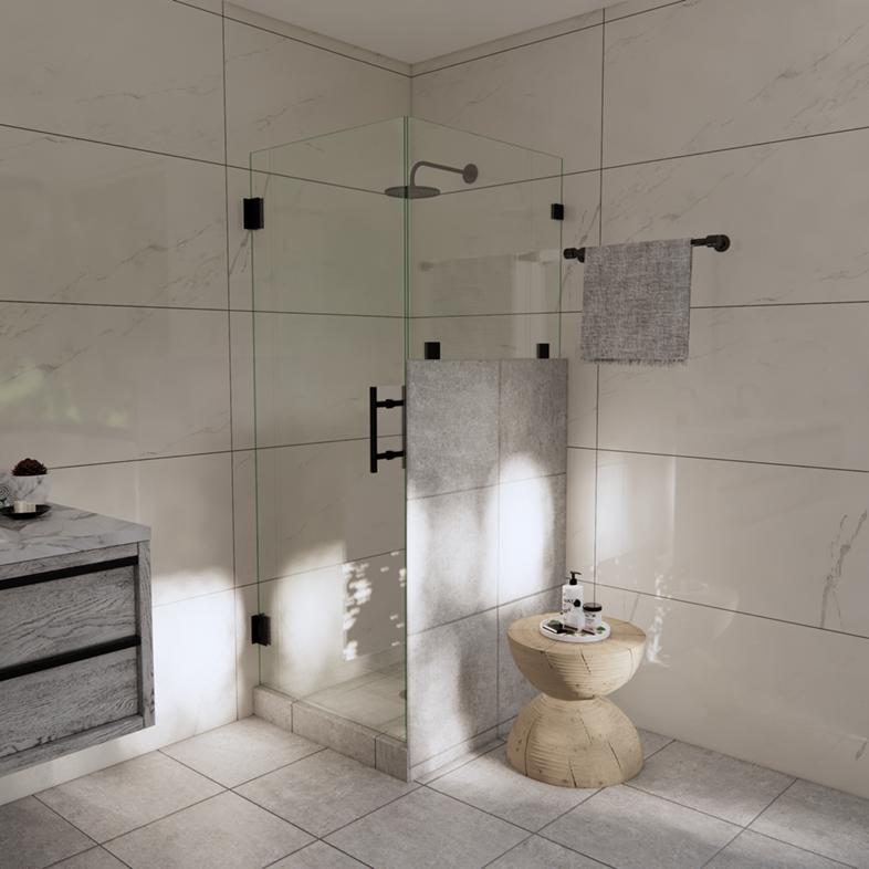 Left Open Corner Shower Door with Right Knee Wall & Glass-to-Glass Hinge