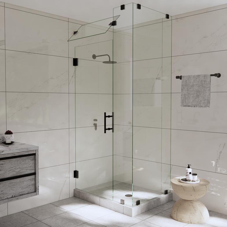 Right Open Corner Shower Door with Steam Shower Transom