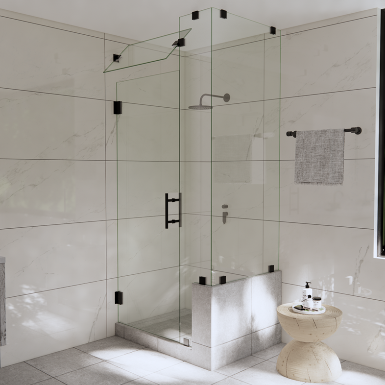 Right Open Corner Shower Door with Right Knee Wall & Steam Shower Transom