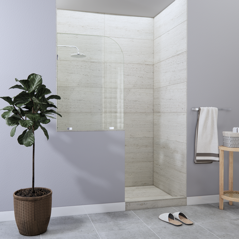 Right Open Single Shower Round Screen with left knee Wall