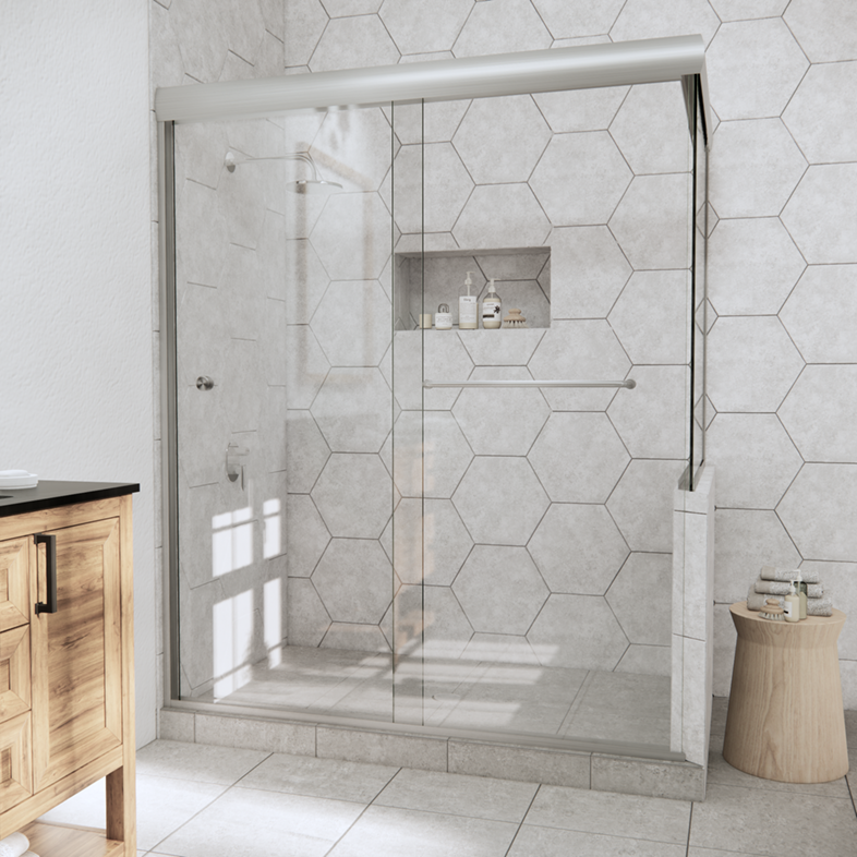 Linear Corner Sliding Shower Door with Right Knee Wall