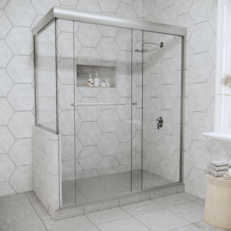 Linear Corner Sliding Shower Door with Left Knee Wall