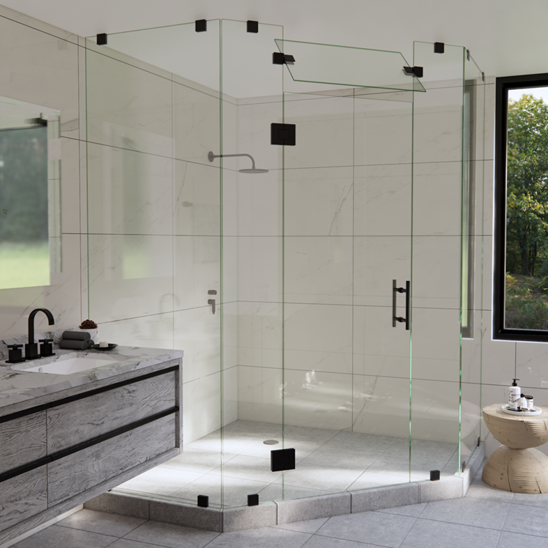 Right Open Neo Angle Shower Door with Steam Shower Transom