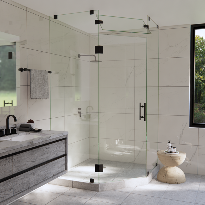 Right Open 3-Panel Neo Angle Shower Door with Steam Shower Transom