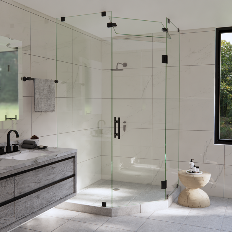 Left Open Neo Angle Shower Door with Steam Shower Transom