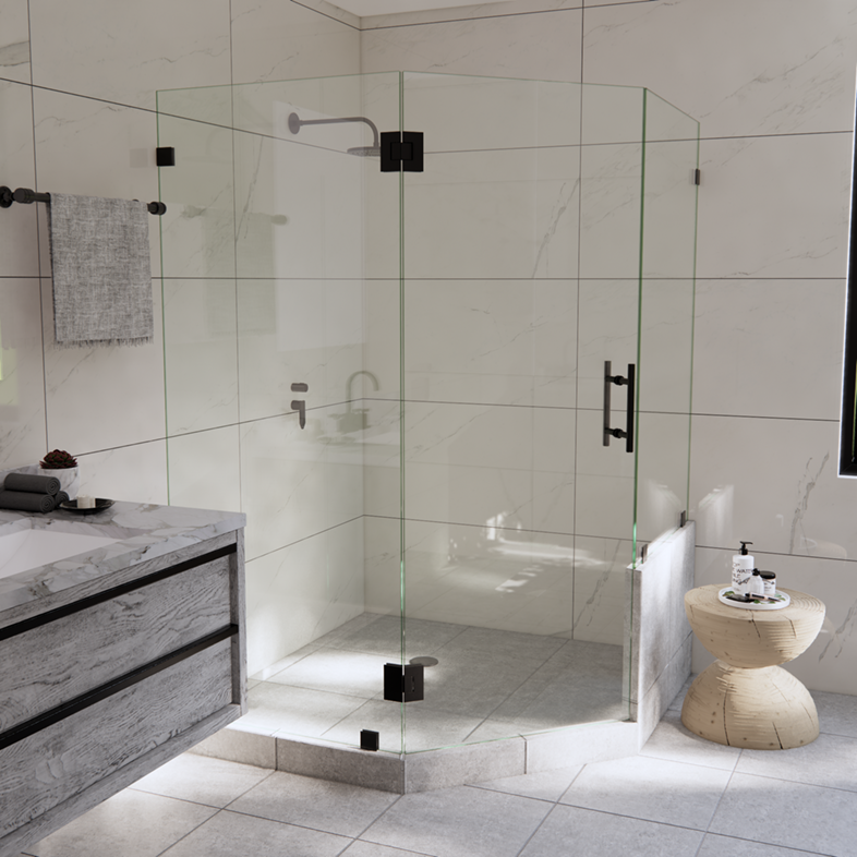 Right Open Neo Angle Shower Door with Right Knee Wall