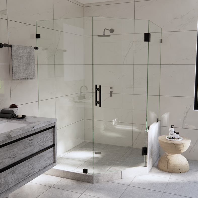 Left Open Neo Angle Shower Door with Right Knee Wall