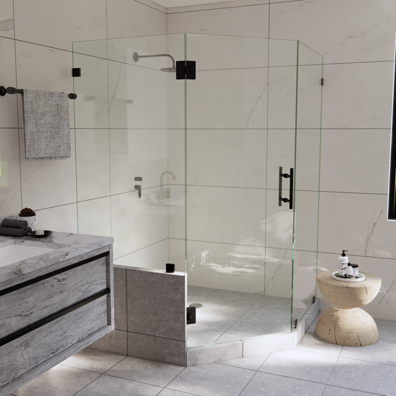 Right Open Neo Angle Shower Door with Left Knee Wall