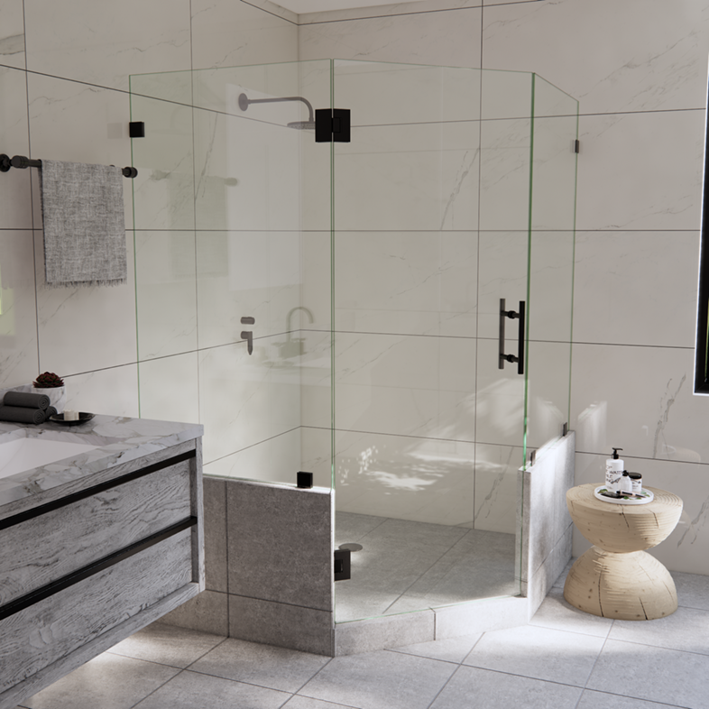 Right Open Neo Angle Shower Door with Two Knee Walls