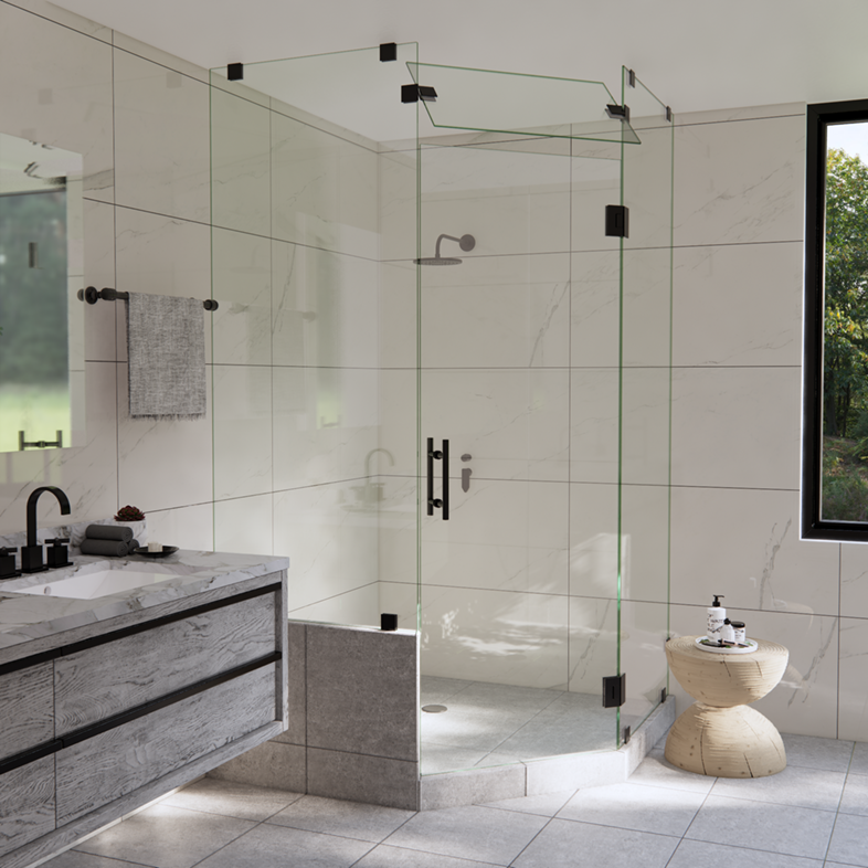 Left Open Neo Angle Shower Door with Left Knee Wall & Steam Shower Transom