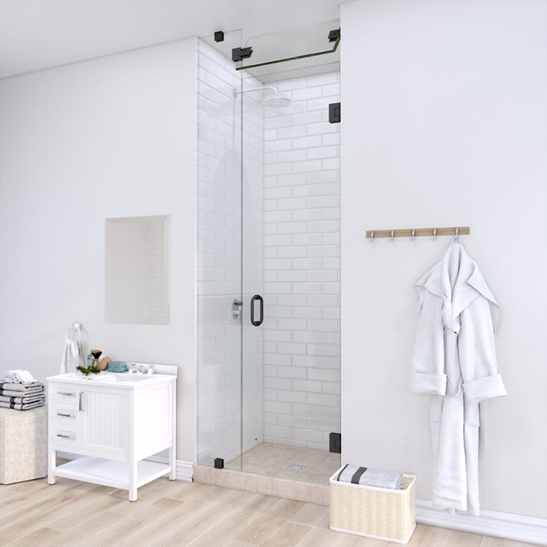 Left Open Door & Panel Shower Door with Steam Shower Transom