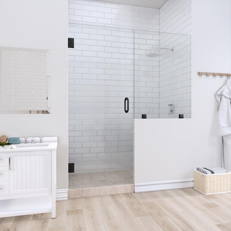 Left Open Door & Panel Shower Door with right knee Wall