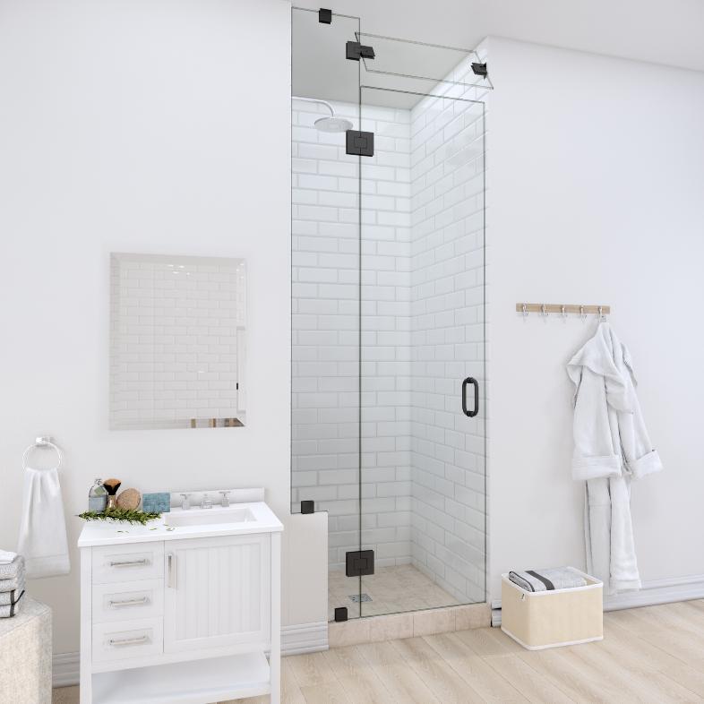 Right Open Door & Panel Shower Door with Left Knee Wall & Steam Shower Transom