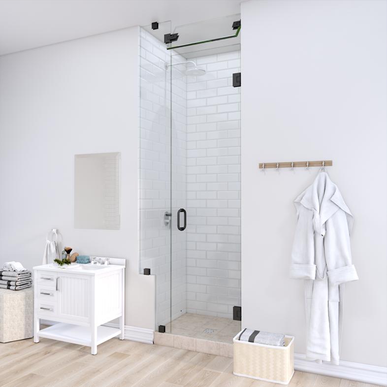 Left Open Door & Panel Shower Door with Left Knee Wall & Steam Shower Transom