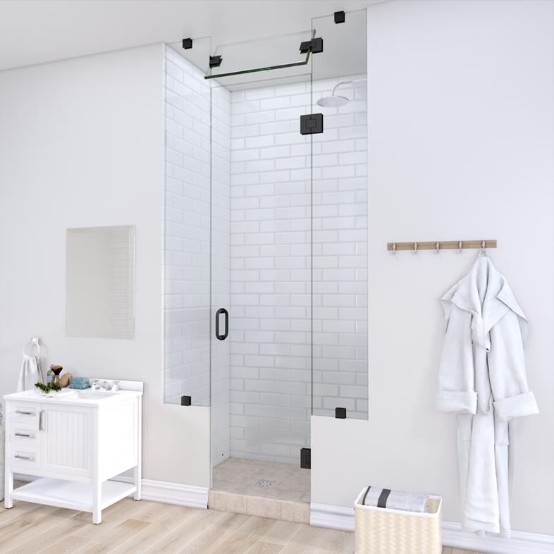 Left Open Door & Panel Shower Door with Two Knee Walls & Steam Shower Transom