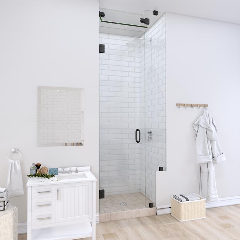 Right Open Door & Panel Shower Door with Right Knee Wall & Steam Shower Transom