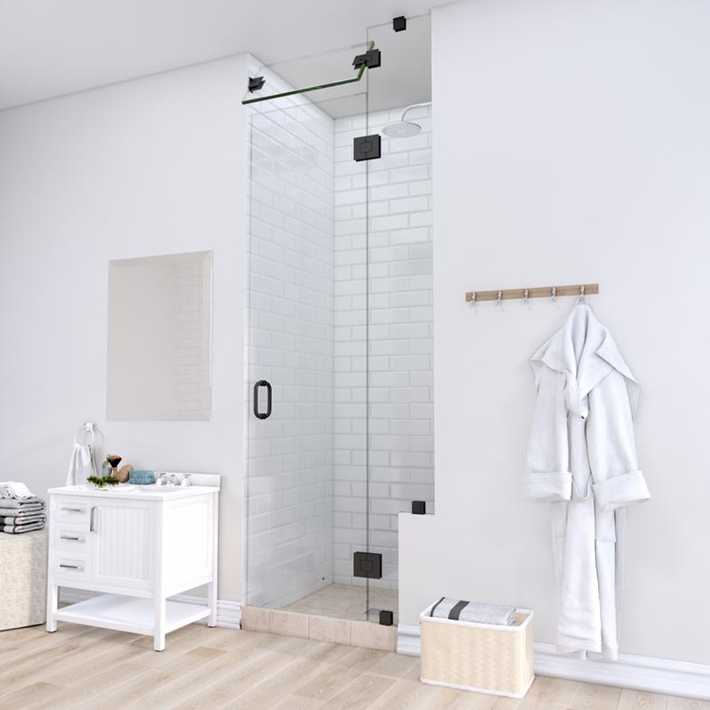 Left Open Door & Panel Shower Door with Right Knee Wall & Steam Shower Transom