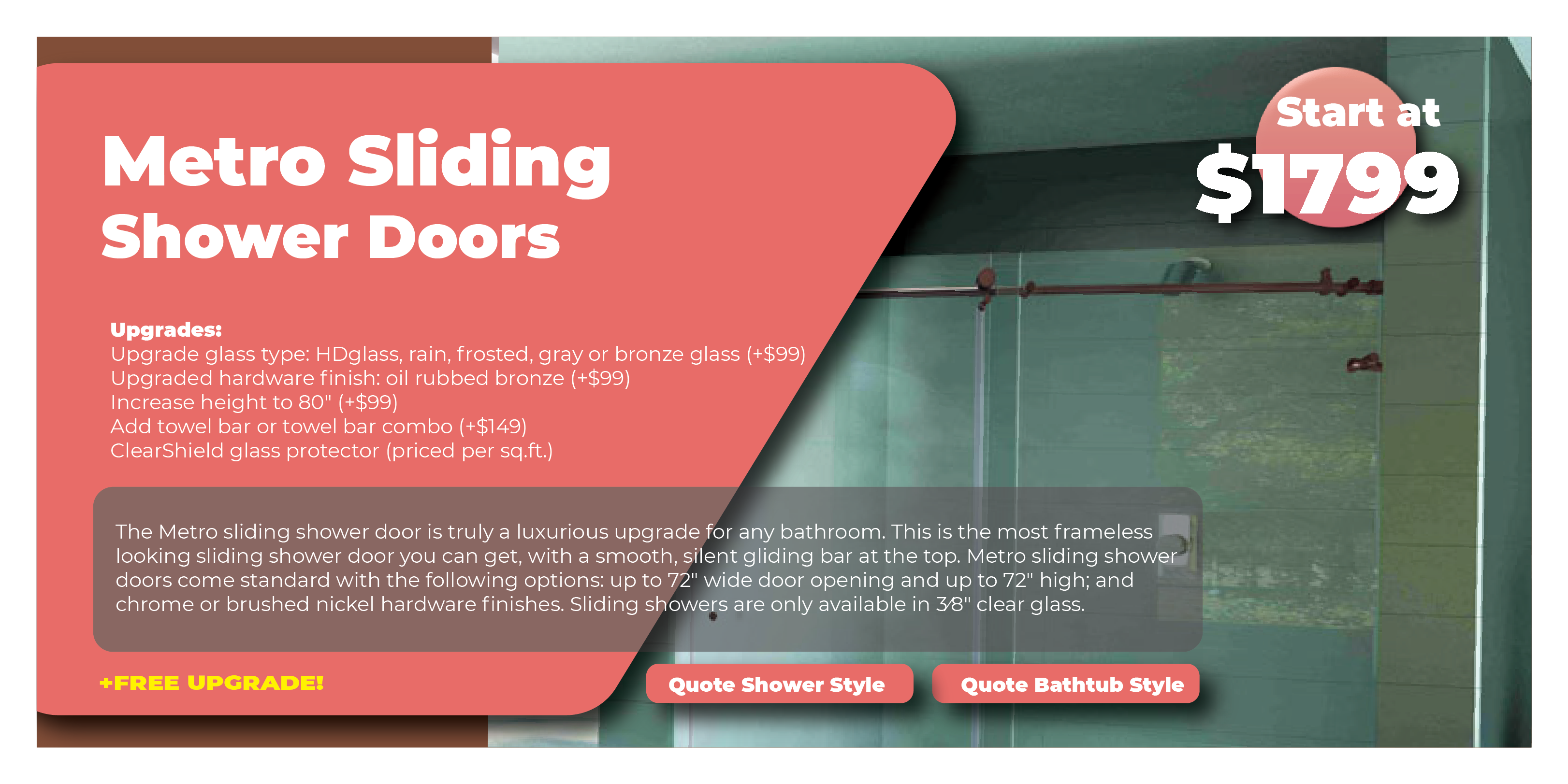 Metro Sliding Shower Doors Promo