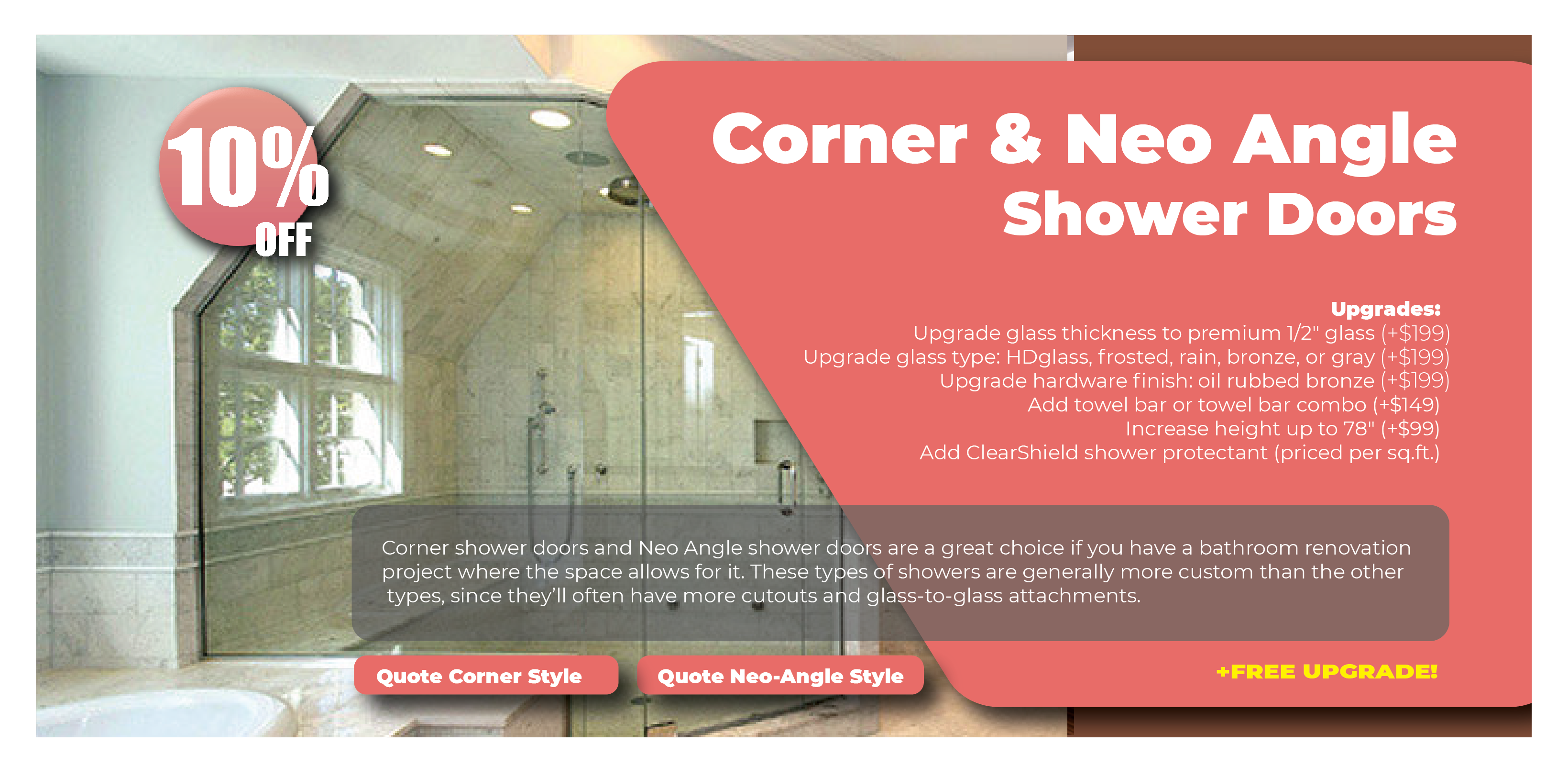 Corner and Neo Angle Shower Doors Promos